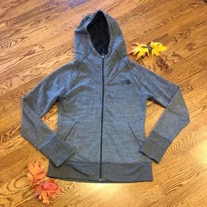 Cozy North Face Zip Up Hoodie Gray Small